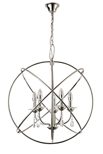 OLA LIVING Entry Lux 5-Light Chrome Sphere Cage Crystal Chandelier Light For Hallway, Bedroom, Living room, Kitchen, Dining Room