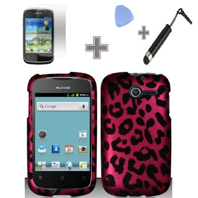 Rubberized Hot Pink Black Leopard Snap on Design Case Hard Case Skin Cover Faceplate with Screen Protector, Case Opener and Stylus Pen for Huawei Ascend Y / M866 - StraightTalk
