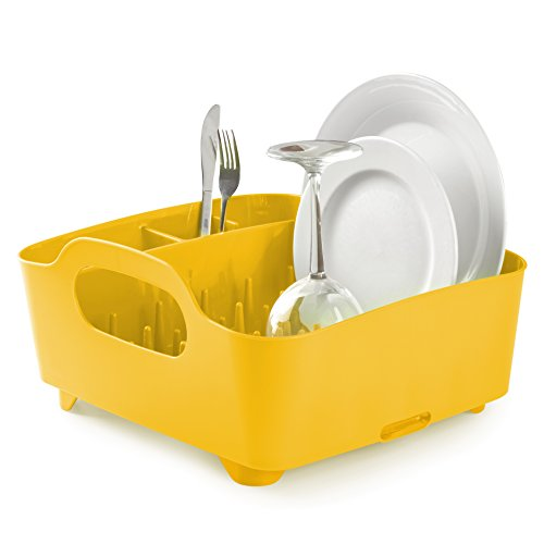 Kitchen Textiles (Umbra Tub Dish Drying Rack – Lightweight Self-Draining Dish Rack for Kitchen Sink and Counter at Home, RV or Motorhome, Canary Yellow)