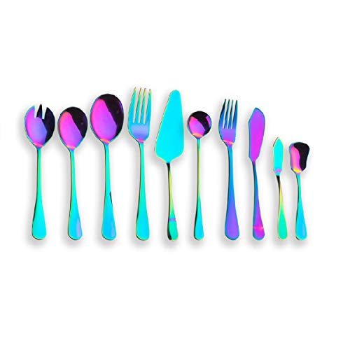 Berglander Titanium Colorful Plated, Multicolor Stainless Steel Flatware Serving Set, Salad Spoon, Salad Fork, Serving Spoon, Serving Fork, Butter Knife, Cake Server.