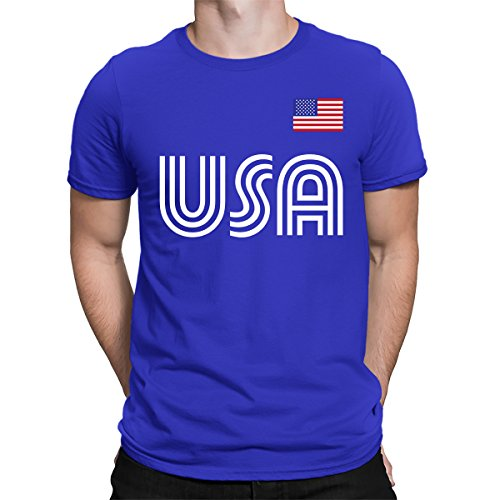 SpiritForged Apparel United States Soccer Jersey Men's T-Shirt, Royal Small