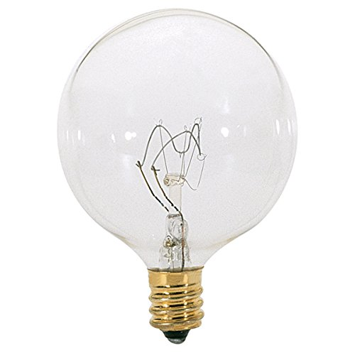 Satco 25G16 1/2 Incandescent Globe Light, 25W E12 G16 1/2, Clear Bulb [Pack of 12]