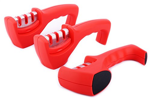 Waypower Knife Sharpeners, Red Color Fine And Coarse Specialty Ceramic,Three Used