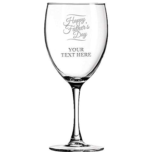 (Happy Fathers Day Personalized Wine Glass - 10.5 oz Soiree Dad Wine Glass Gift Prime)