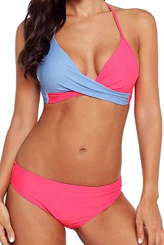 Camlinbo 2019 Women's Push up Bikini Set Two Piece Padded Low Waist Swimsuit Vintage Swimwear (XL 14-16, B-Rosy Blue) (Best Plus Size Bikini 2019)