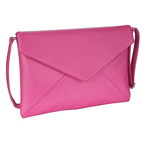 Clutch With Fuchsia Flap Long A Evening Over Style Strap Large Envelope Handbag nHRUwfBUqx