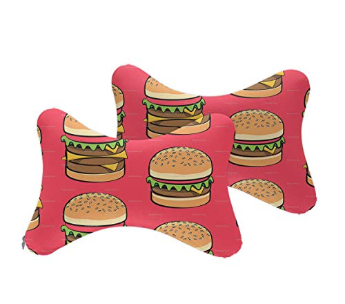 NiYoung Car Neck Support Pillow for Neck Pain Relief When Driving,Headrest Pillow for Car Seat with Soft Memory Foam - Hamburger Pattern, 2 Pack