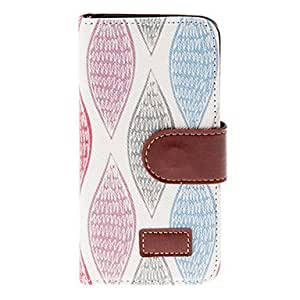 Buy Colorful Salix Leaves Pattern PU Full Body Case with Stand and Card Slot for iPhone 5/5S