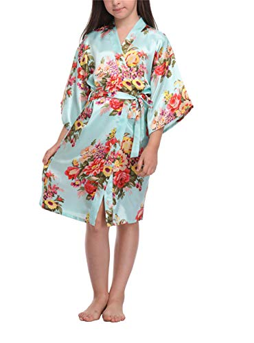 Floral Satin Kimono Robes for Girls Getting Ready Robes for Wedding Party Lightblue