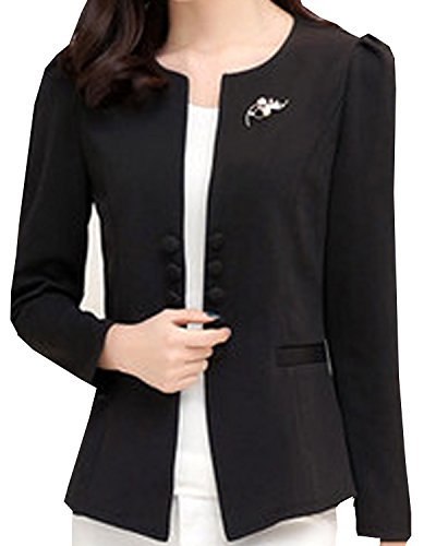 SWORLD Womens Puff Sleeves Candy Double-breasted Suit Coat Jacket Open ()