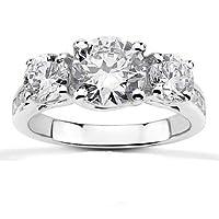 1 5/8ct Three Stone Diamond Engagement Ring 14K White Gold
