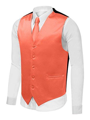 Azzurro Men's Dress Vest Set Neck Tie, Hanky for Suit or Tuxedo, Orange, -
