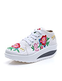 Veowalk Chinese Floral Embroidered Women's Fashion Canvas Sneakers Lace up Wedge Heels Platforms Shoes