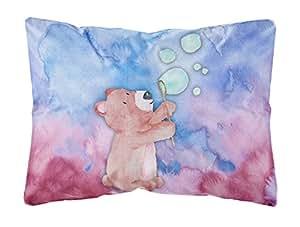 Caroline tesoros del bb7347pw1216oso y burbujas Watercolor al aire libre lienzo almohada, multicolor