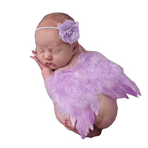 [2pcs Baby Headband Angel Feather Wing Costume Photo Props Outfit (Purple)] (Kitty Newborn Baby Costumes)