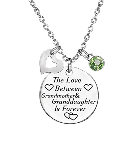 TISDA Birthstone Crystals Necklace,The Love between Grandmother and Granddaughter is Forever Necklace Family Jewelry Christmas Gift (August) - Grandmother Birthstone Jewelry
