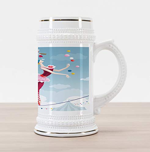 Ambesonne Circus Beer Stein Mug, Graphic Circus Performer Woman Juggling with Balls Standing on Wire as Blindfolded, Traditional Style Decorative Printed Ceramic Large Beer Mug Stein, Multicolor
