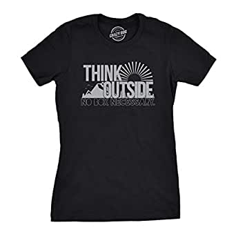 Womens Think Outside Funny No Box Necessary Cool Summer Sunshine Outdoor Nature T Shirt (Black) - S