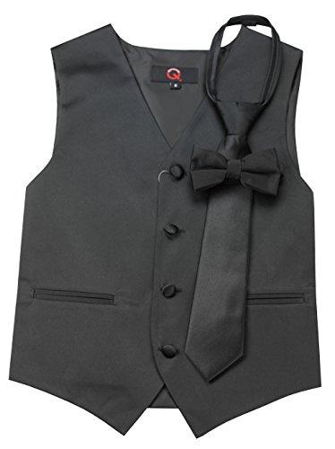 Childrens Black Tuxedo Vest (Brand Q Boy's Tuxedo Vest, Zipper Tie & Bow-Tie Set in Black-10)