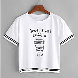 Sinfu Casual Blouse Letter I need Coffee Print T-Shirt Loose Pullover Tops Women Short Sleeve (Asian Size:L)