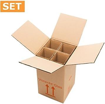 1 unidad del paquete (15 unidades) Cajas de Cartón para 4 Vino/champán pie<br/>370 x 210 x 210 mm<br/>El Set (Caja + compresas): Amazon.es: Bricolaje y herramientas