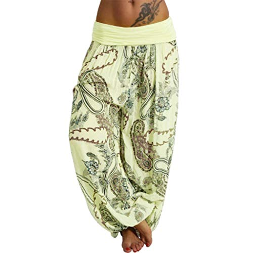 (ZEFOTIM Women Plus Size Print Loose Casual Elastic Pants Cropped Full Length Trousers (2XL,A-Yellow))