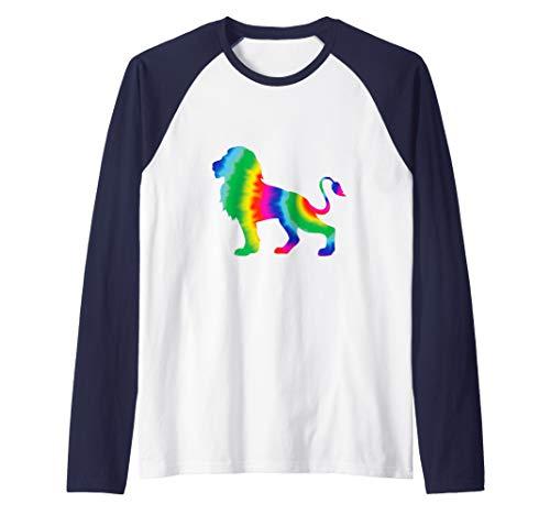 (Cool Tie Dye Lion Jungle Animal Raglan Baseball Tee)