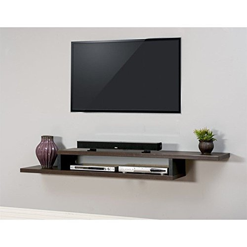 Merveilleux Asymmetrical Wall Mounted Console In Walnut Finish