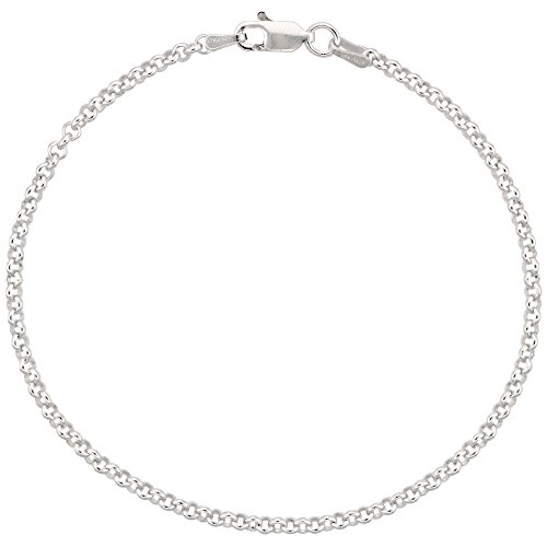 Sterling Silver Italian Rolo Chain Bracelet 2.5mm Nickel Free, 8 inch