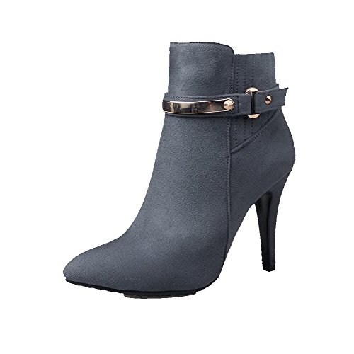 Women's High-Heels Solid Pointed Closed Toe Frosted Zipper Boots