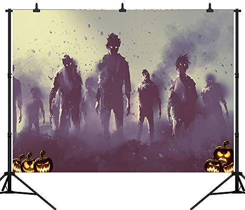 DePhoto 7X5FT(210x150CM) Horrible Pumpkin Zombie Backdrop Happy Halloween Seamless Vinyl Photography Photo Background Studio Prop PGT416A -