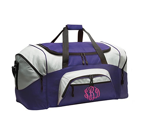 All about me company Standard Colorblock Sport Duffel Bag | Personalized Monogram/Name Gym Bag (Purple/Grey)