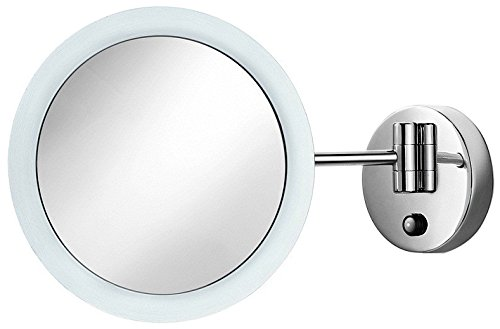 WS Bath Collections Mevedo Collection Diameter Wall Mounted Mirror with Flexible Arm/Led Light/3x Magnification, 9