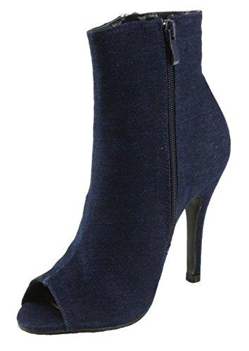 Forever Women's Quince-14 Peep-Toe Denim High Heel Ankle Booties (8.5, Dark Blue)