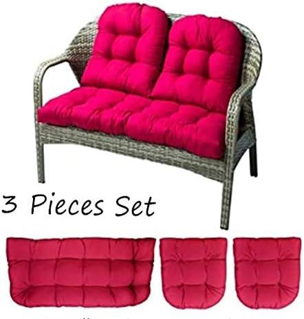 wongbey 3 Pcs Bench Seat Cushion Cotton Garden Furniture Loveseat Cushion Patio Lounger Chairs Back Cushions Seat Pillows 43 Settee Cushion Rose