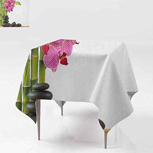 (AndyTours Washable Tablecloth,Spa,Beautiful Pink Orchid with Bamboos and Black Hot Stone Massage Image Print,High-end Durable Creative Home,54x54 Inch Pink Green and Black)