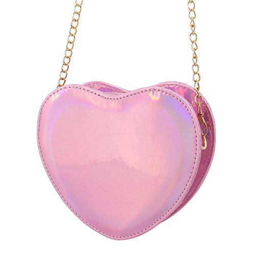 Women Purse Hologram Pink Shoulder Holographic Evening Handbag Crossbody Bag Shiny Candice Bag Heart Bag RqwdnESR1