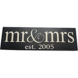 Mr & Mrs Est. 20XX Anniversary Wood Sign ((Sm) Lowercase, 2005 Black)