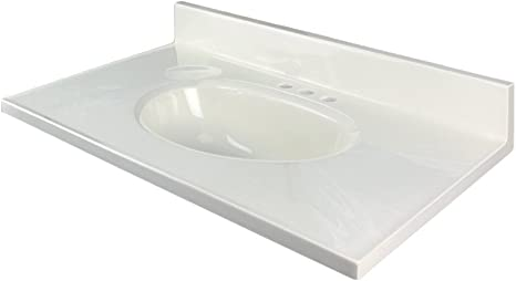 Amazon Com Transolid 1409 7021 19 In X 17 In Cultured Marble Bathroom Vanity Top In White On White Kitchen Dining