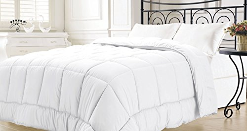"""Goose Down Alternative Comforter, Microfiber-Covers , Diamond-Boxes. Siliconized 7D over-Filled Fiber, Hypoallergenic, Duvet Insert, Barrier on Dust Mites and Allergens, 68""""Wx86""""H (twin, white)"""