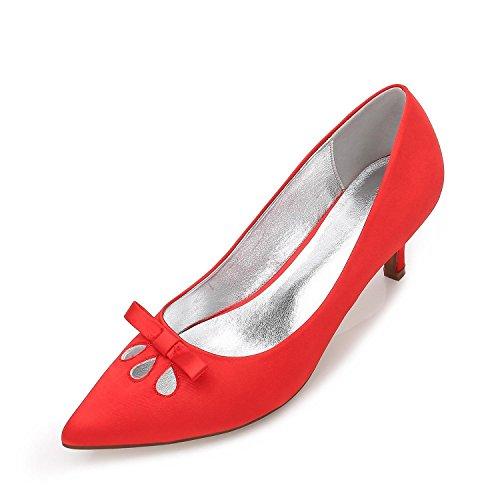 L@YC Frauen Closed Toe Stiletto High Heels Niedrige Mitte Kätzchen Stiletto Court Schuhe Schnalle Bogen Hochzeit Brautschuhe Red