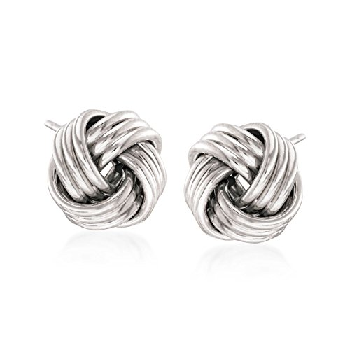 Ross-Simons 14kt White Gold Love Knot Stud ()