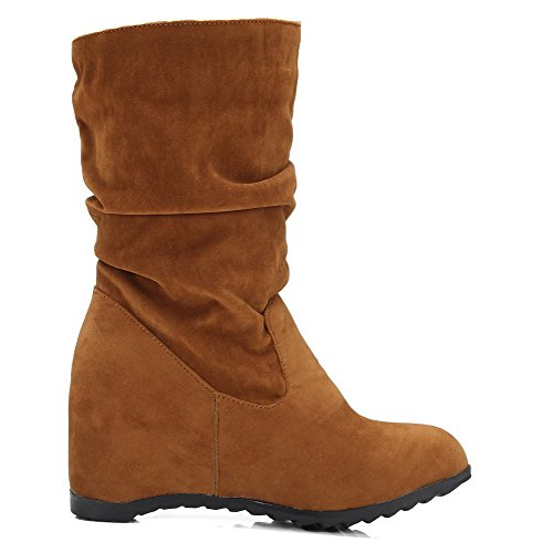 AllhqFashion Womens Round Closed Toe Kitten-Heels Frosted Low-top Solid Boots Brown zm8s6ft