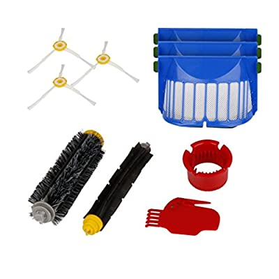 Paymenow Vacuum Cleaner Replacement Parts Accessories Kit with 3 Pack Filter, Side Brush, 1 Pack Bristle Brush and Flexible Beater Brush, 1 Pack Cleaning Tool for iRobot Roomba 600 610 620 650 Series