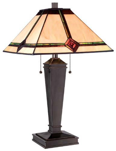 Lite Source LS-22040 Table Lamp with Amber Tiffany Shades, Bronze (Lite Source Bronze Ceiling Lamp)