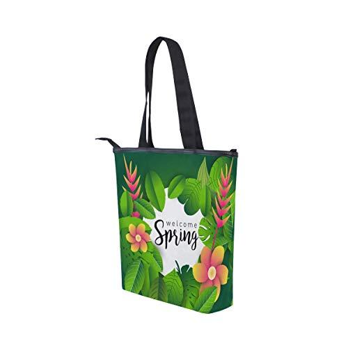 Fiori Bag Jeansame Handle Top Shopping Palma Borse Canvas Foglie Tote Borsa Albero Primavera Spalla TvTrRq6