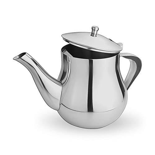 GOURMEX Stainless Steel Rhapsody Teapot with Rounded Handle and Lid, Perfect for Tea, Coffee and Flavor Infused Drinks, Great for All Stovetops, Dishwasher Safe and Heat Resistant (48oz)