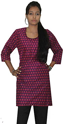 Indian-Blue-pink-Color-Tunic-Top-Kurta-Women-Ethnic-Kurti-plus-size-Drop-Print-100-Cotton-Large