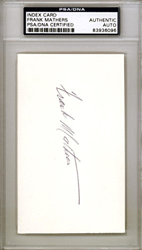 Frank Mathers Authentic Autographed Signed 3x5 Index Card #83936096 PSA/DNA Certified NHL Cut Signatures