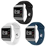 OenFoto Sport Bands Compatible Fit bit Ionic, Soft Silicone Wristband Replacement Watch Band Strap Accessory Bracelet for Fit bit Ionic Smart Watch, Black/White/Slate Large